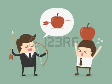 54429699-business-target-concept_-businessman-shooting-an-apple-on-top-of-colleague